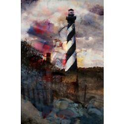 Abstract Outer Banks Cape Hatteras Light Station Signed Canvas