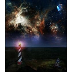 Abstract Outer Banks Cape Hatteras Light Station Signed 8 x 10 Canvas