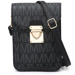 Women Small Faux Leather Cell Phone Messenger Crossbody Bags Handbags Purses