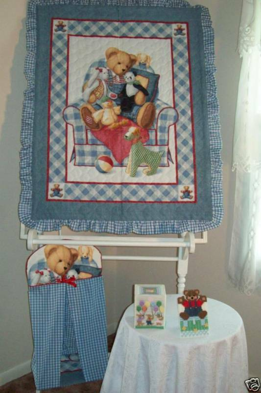 Blue Jeans Teddy Baby Quilt Nursery Bedding Acccesories Ebay