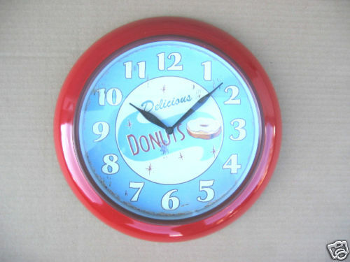 New NIB Retro Red Kitchen 50's Diner Donuts Wall Clock
