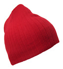 RED CABLE KNIT SHORT BEANIE CAP SKI SKULL CAPS HAT HATS