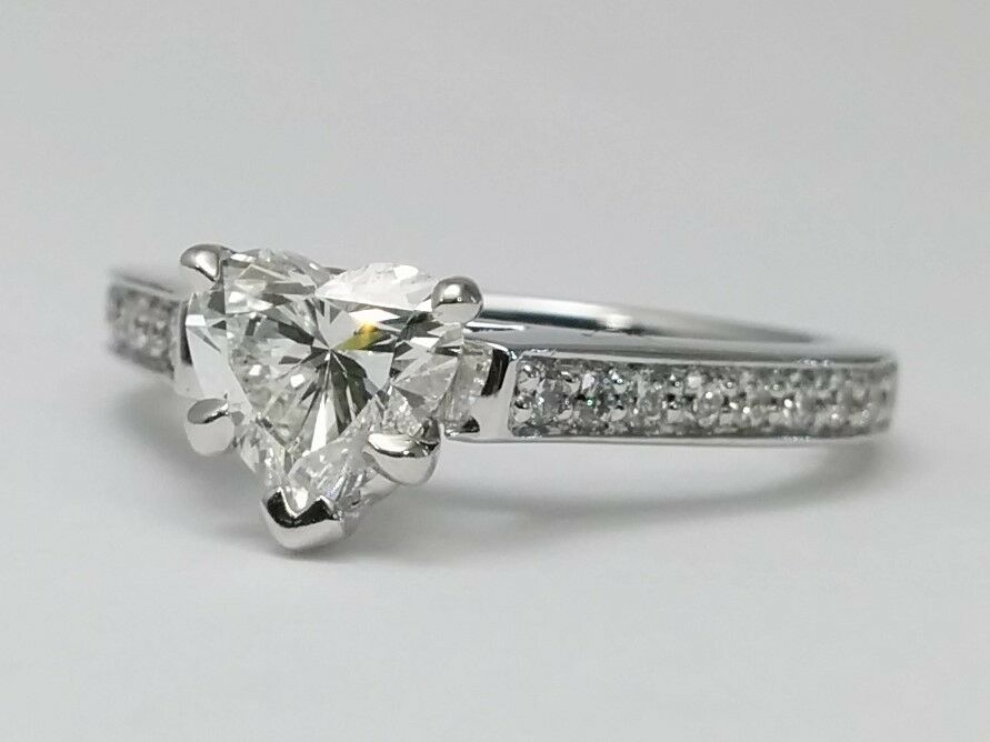 1 18 Carat Heart Shape Cathedral Pave Diamond Engagement Ring E VS1 GIA gra