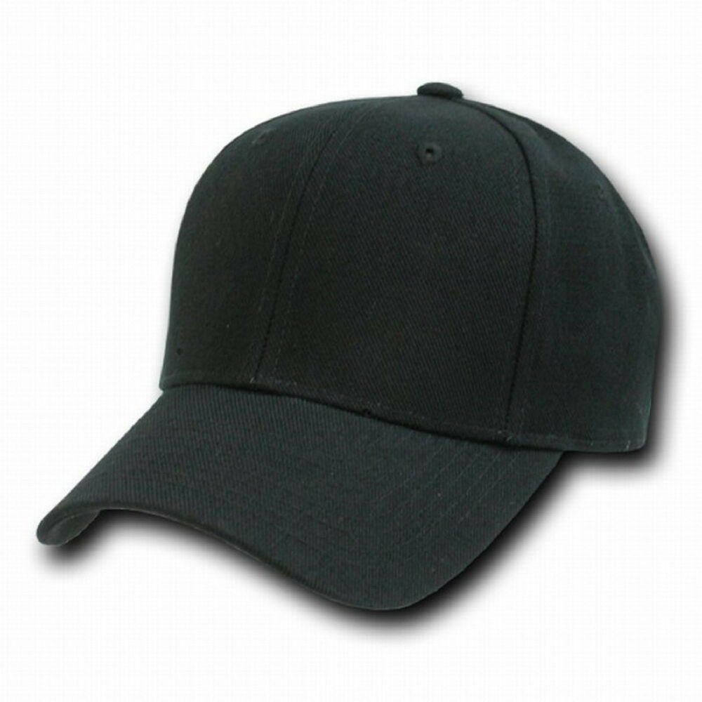 Black fitted baseball cap caps hat hats size choices ebay