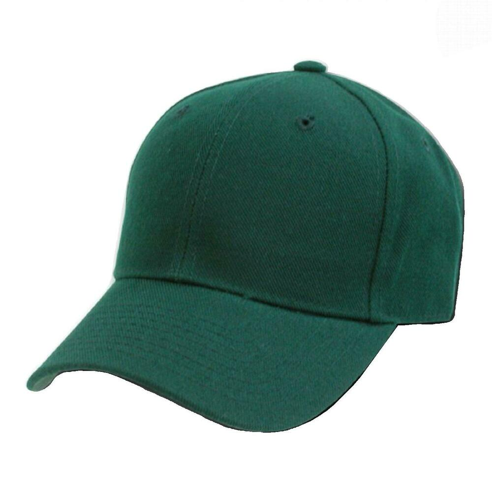 Forest Green Fitted Baseball Cap Caps Hat Hats 8 Sizes Ebay