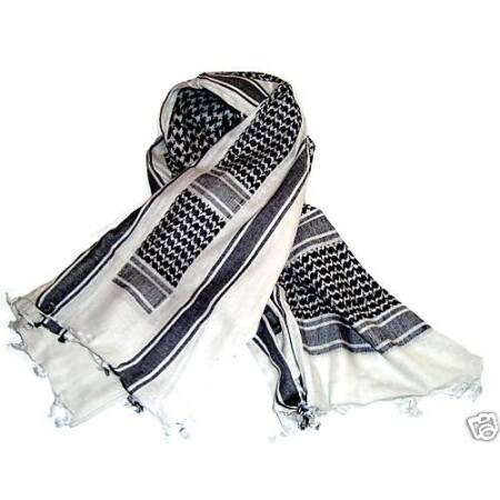 img-MILITARY SHEMAGH SCARF ARMY ISSUE Arab Black White 100% Cotton face neck cover