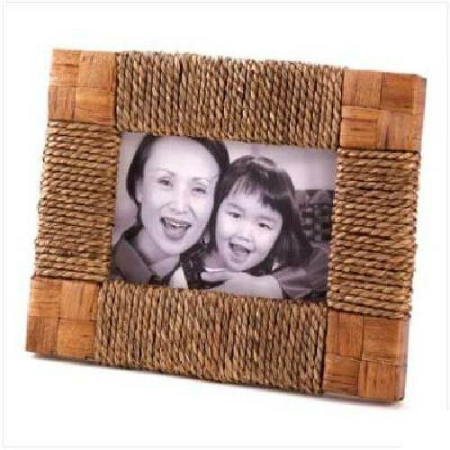 New seagrass rope photo frame wood glass holds a 4x6 ebay Rope photo frame