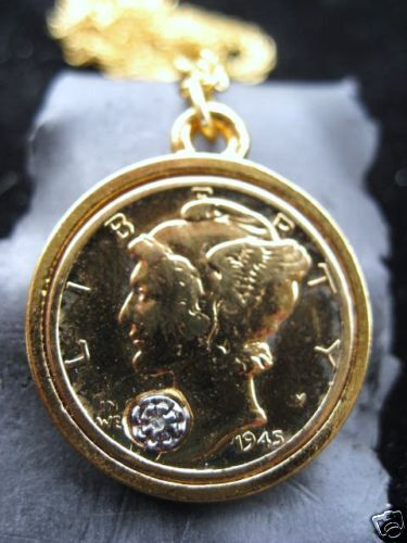 Mercury dime gold filled pendant necklace ebay for Is gold plated jewelry worth anything