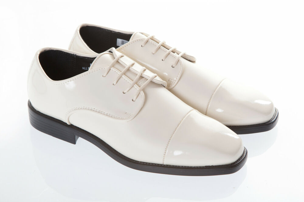 mens new ivory patent wedding dress shoe shoes for suit ebay