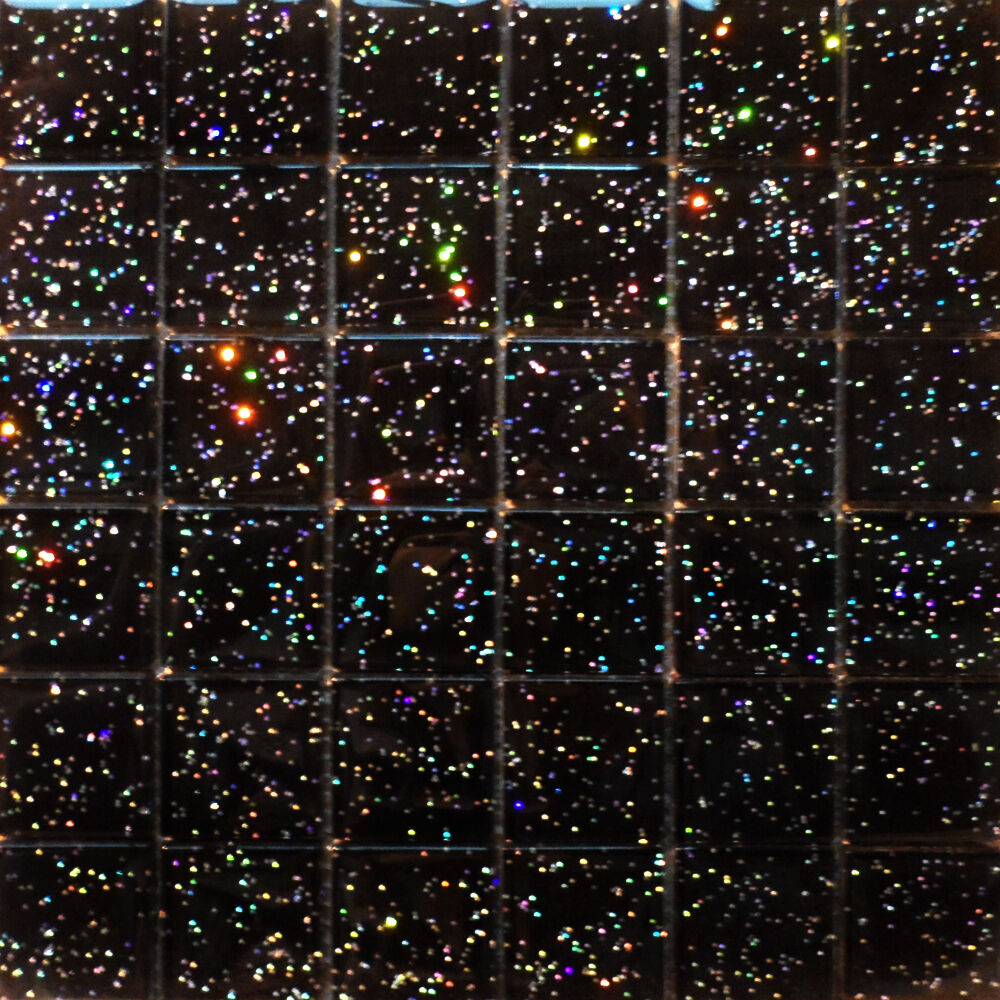 Sheet Of 36 Galaxy Black Hi Light Glass Mosaic Tiles Ebay