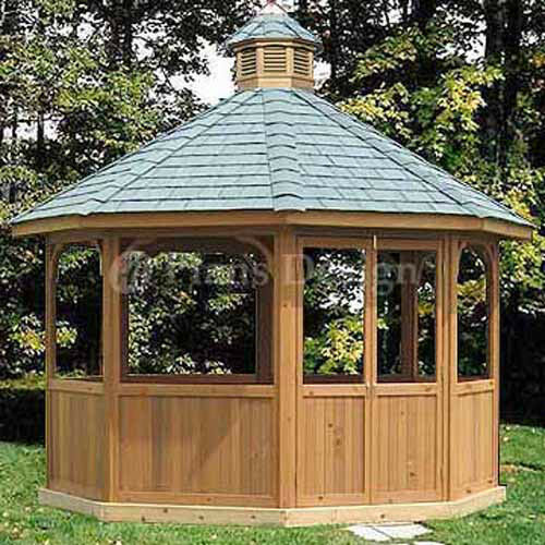 How to build 12 39 octagon screened gazebo plans material for House plans with gazebo porch