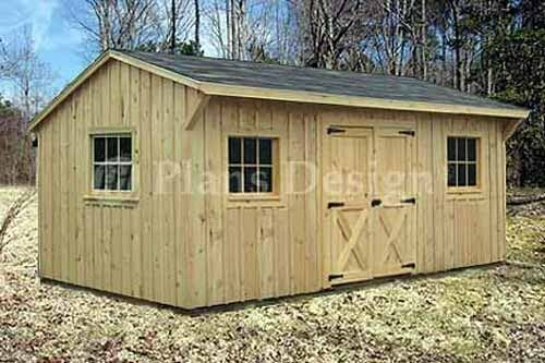 10 39 x 16 39 saltbox roof style storage shed plans 71016 ebay for Saltbox barn plans