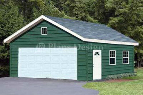 Garage plans 20 x 28 gable roof style workshop building for Gable roof garage