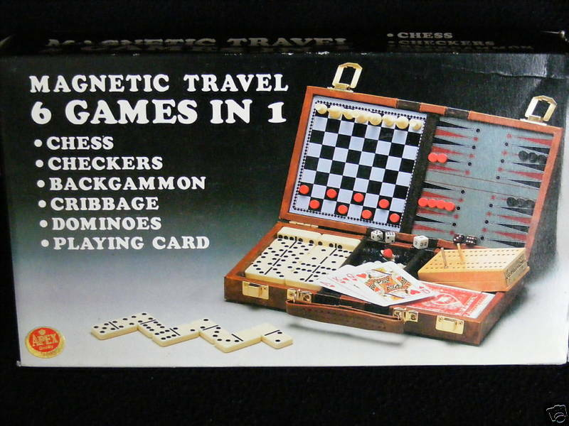 Magnetic travel set 6 games chess checkers dominoes etc ebay Where can i buy a chess game