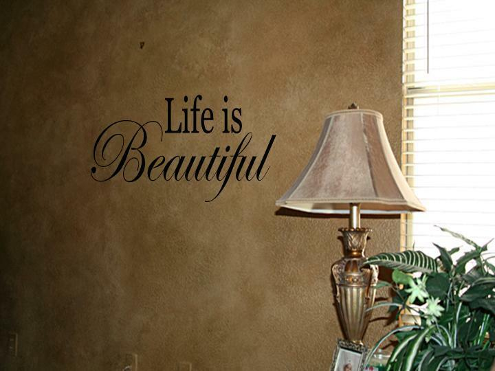 Beautiful Wall Decor Home : Life is beautiful vinyl wall art decal home decor quot