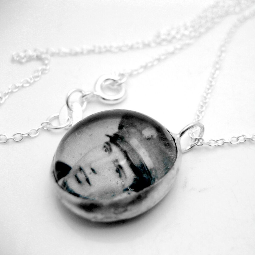 custom keepsake photo glass silver necklace bn