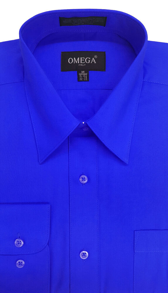 New mens royal blue long sleeve dress shirts all sizes for Mens dress shirt sleeve length