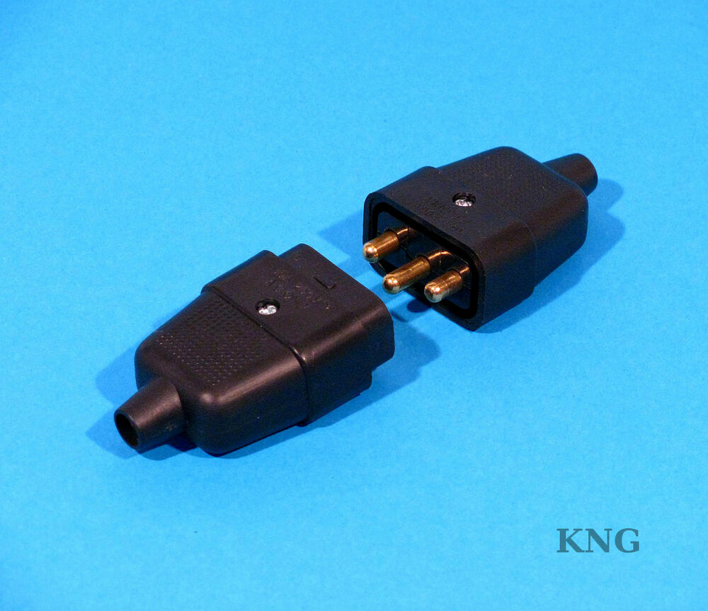 3 Pin Power Connector 10a Black Cable Lead Rubber Plug