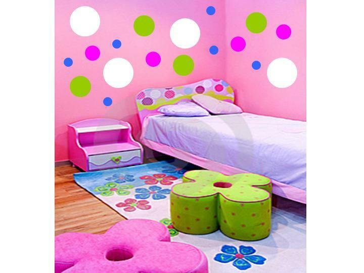 100 polka dots vinyl wall decals stickers room decor ebay for Polka dot decorations for bedrooms