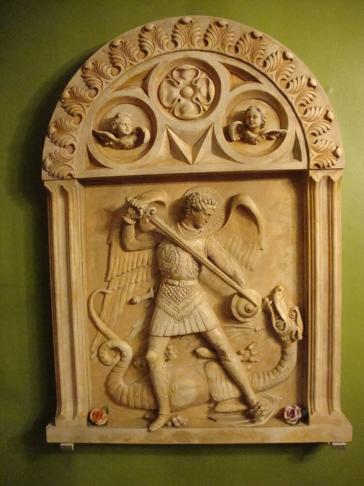 St archangel michail killing the dragon stone wall decor for Stone wall art