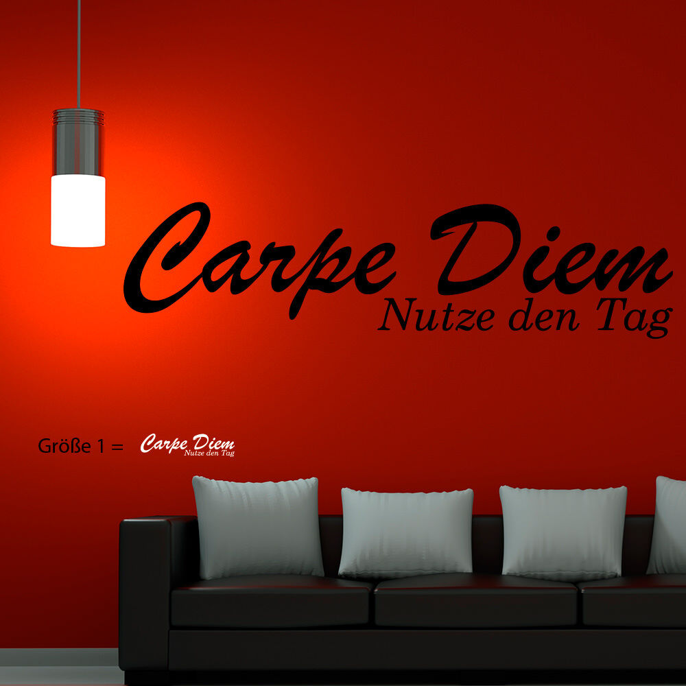 wandtattoo carpe diem nutze den tag autotattoo schriftzug xxl 76 ebay. Black Bedroom Furniture Sets. Home Design Ideas