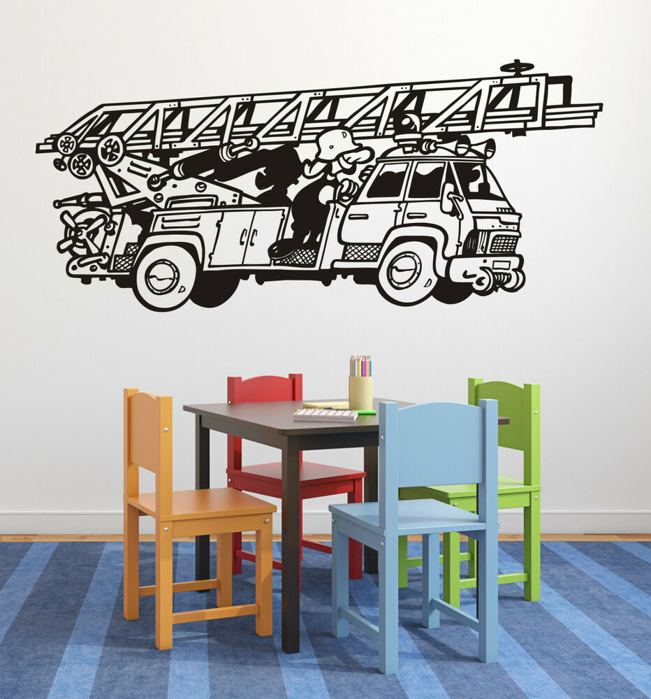 wandtattoo kinderzimmer feuerwehr motiv 2 drehleiter feuerwehrmann wandsticker ebay. Black Bedroom Furniture Sets. Home Design Ideas