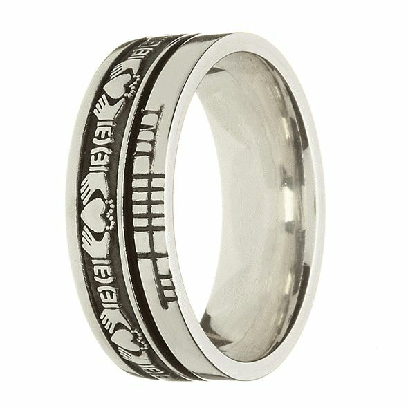 Sterling Silver Unisex Claddagh Amp Ogham Wedding Ring Ebay