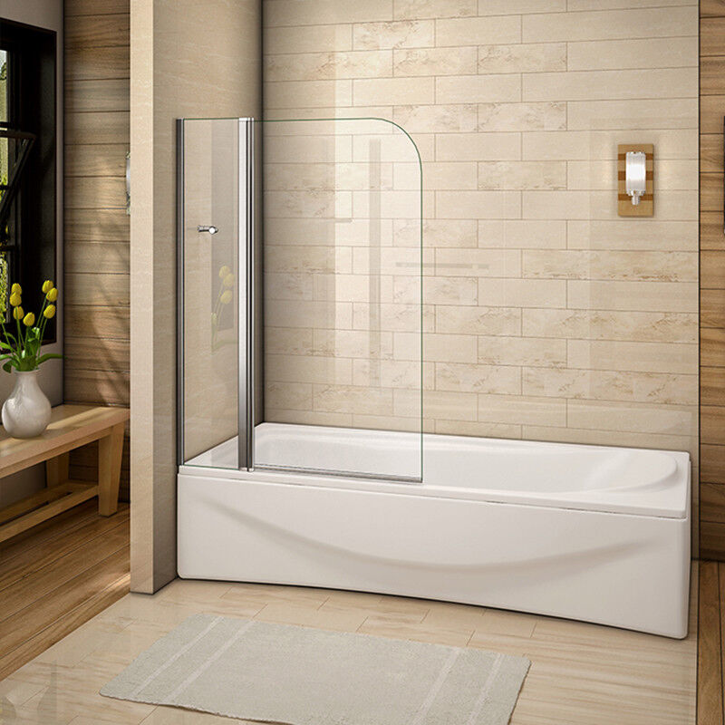 New Aica 180 176 Pivot Over Bath Shower Screen Tempered Glass