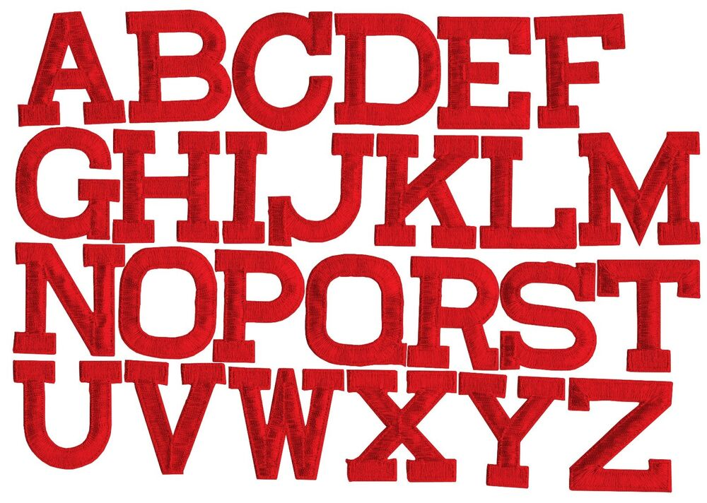 Iron on Embroidered Alphabet Letters RED your choice 2 ...