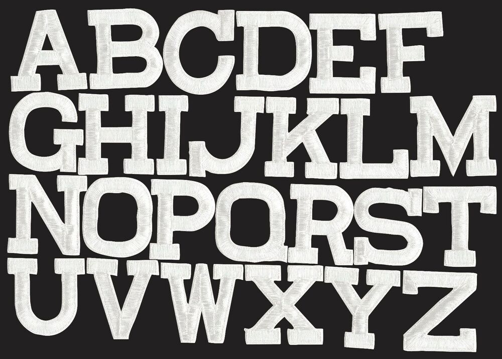Iron on embroidered alphabet letters white your choice 2 for Embroidered alphabet letters