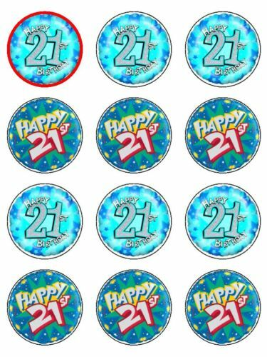 21st Birthday Cake Edible Icing Cupcake Toppers Ebay