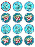 21st birthday Cake Edible Icing CupCake Toppers
