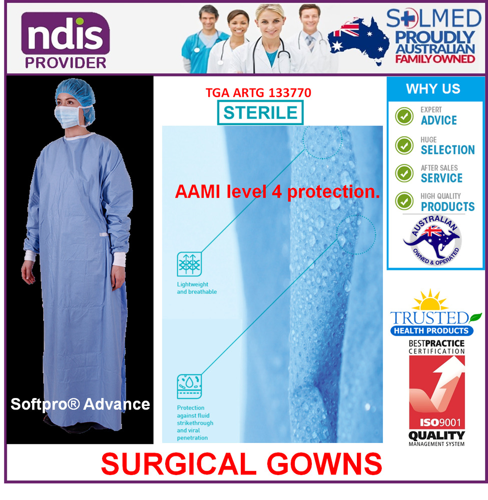 DISPOSABLE SURGICAL GOWN STERILE IMPERVIOUS LARGE X LONG SOFTPRO | eBay