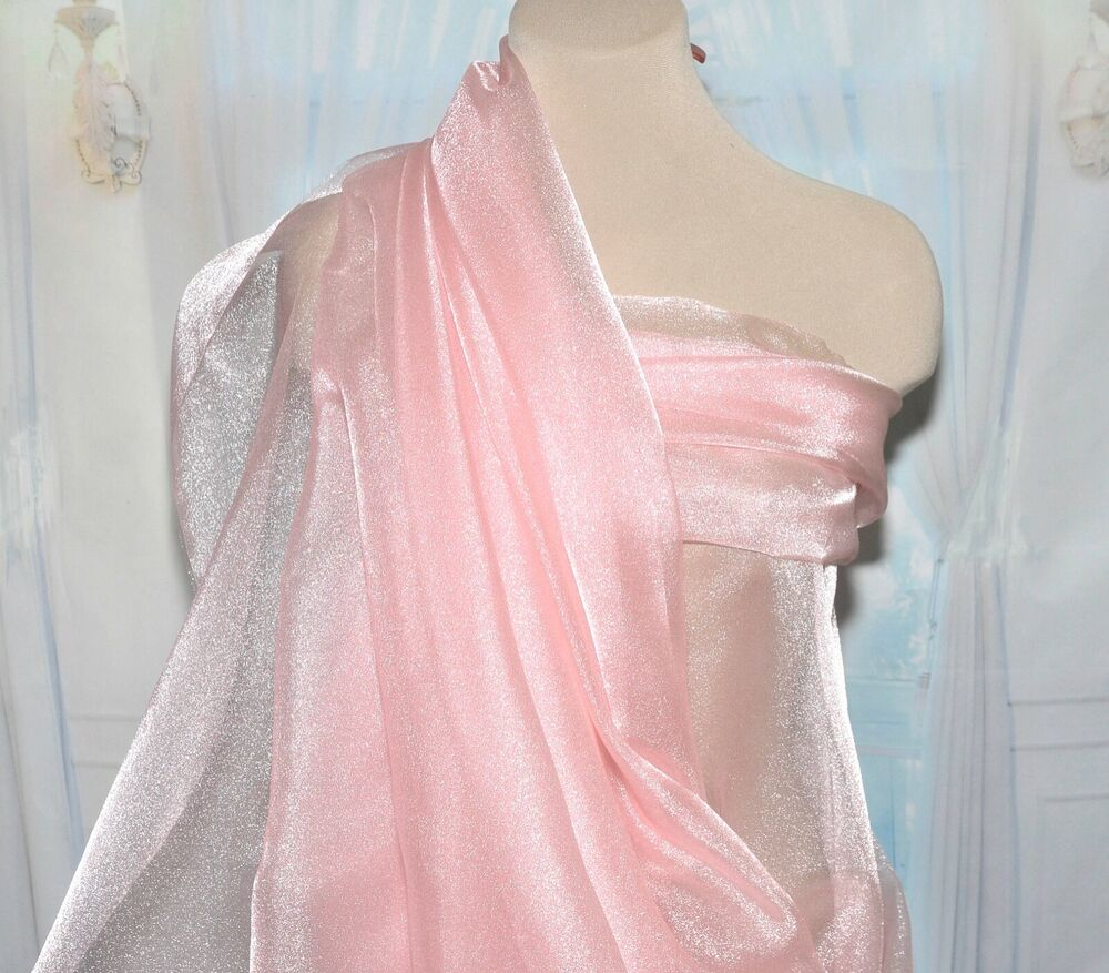 Sparkle organza sheer fabric coral pink 45 bty ebay for Sheer fabric