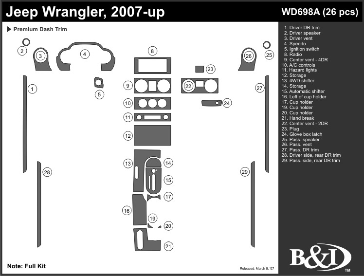 Jeep Wrangler 2007 2008 2009 2010 2011 Dash Trim Kit A