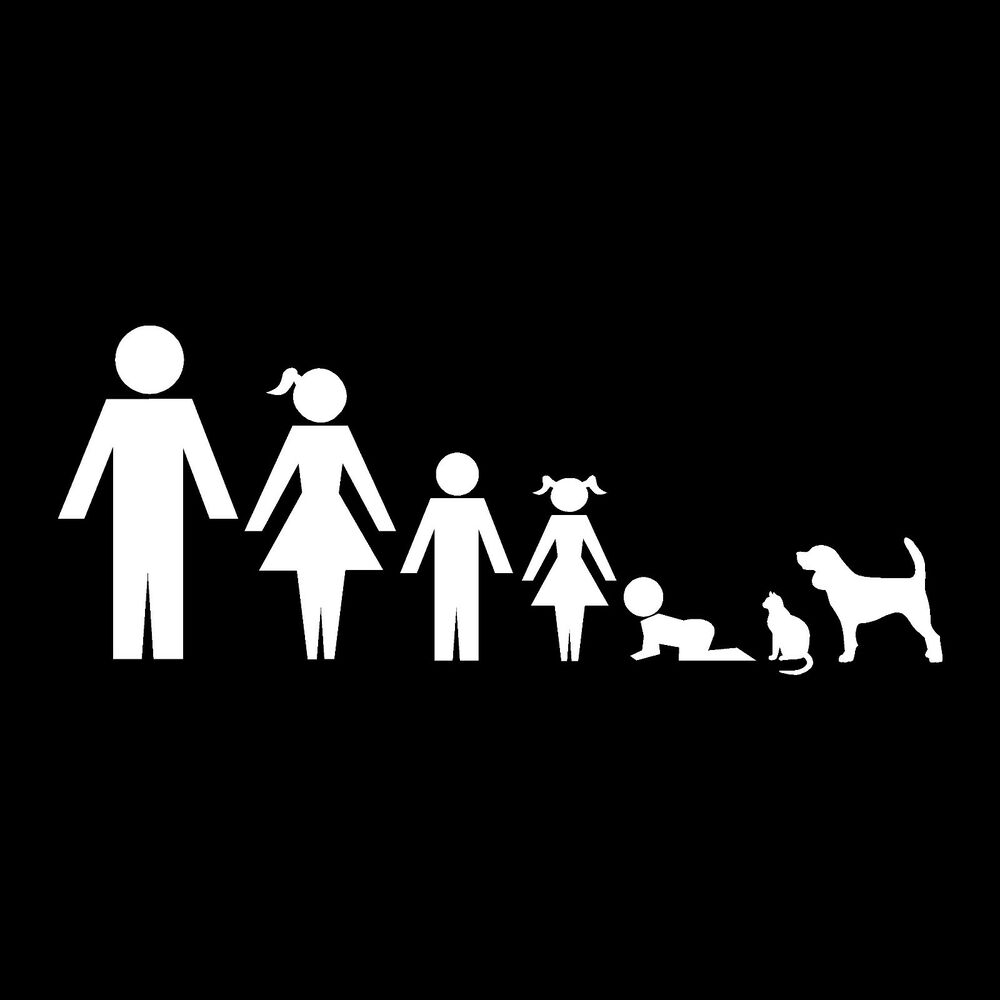 Family Member Stickers Decals Stick Figures Car Window