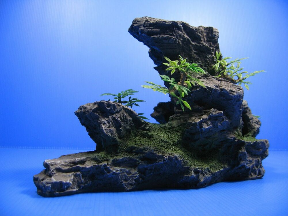 Mountain aquarium ornament tree rock cave stone hide ebay for Aquarium stone decoration