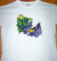 GOLD FINCH AND FLOWERS Ladies White T Shirt  Sz Sm - 2XL Awesome Bird Tee