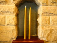 2 Handmade Pure Beeswax Dipped Candles 10in x 3/4in