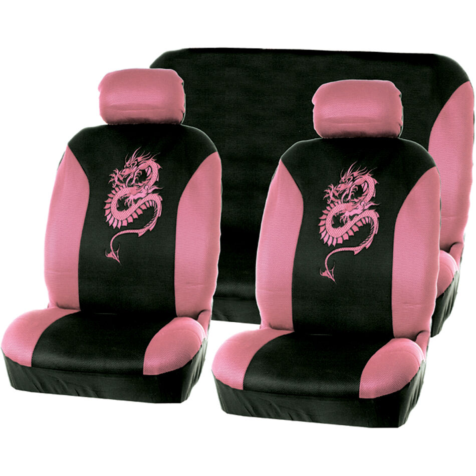 6pc car seat cover set black pink dragon car universal ebay. Black Bedroom Furniture Sets. Home Design Ideas