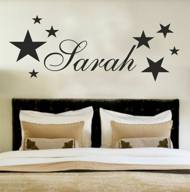 Wall Art Stickers Custom : Your name personalised wall art stickers kids stars