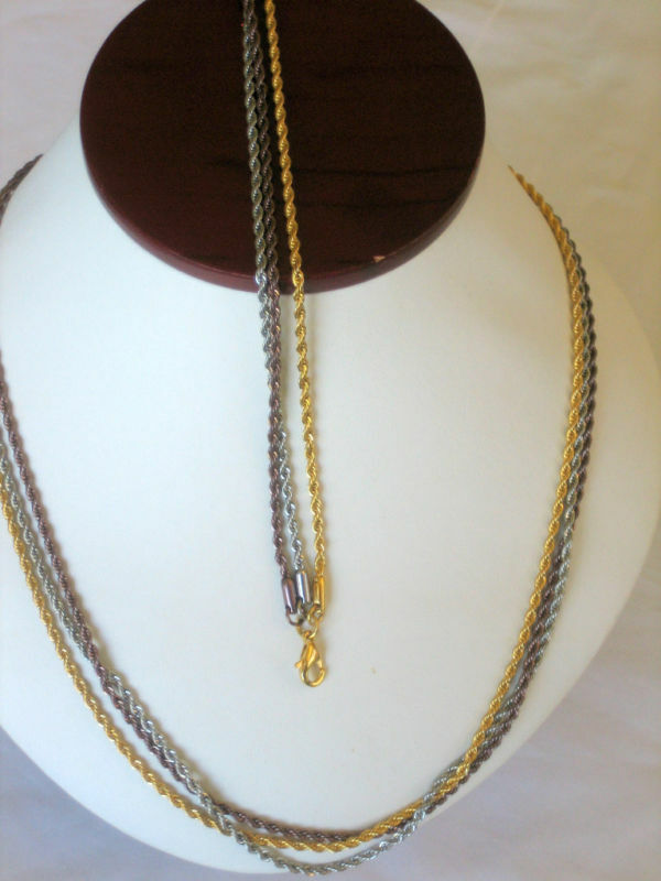 Tri Color Stainless Rope Chain Necklace Amp Bracelet Set Ebay