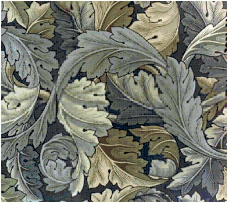 Acanthus leaves blue morris cross stitch pattern ebay