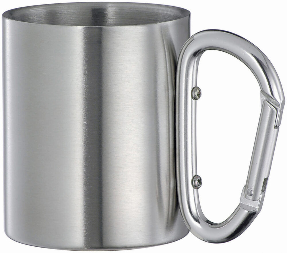 isolating stainless steel carabiner hook travel mug cup ebay. Black Bedroom Furniture Sets. Home Design Ideas