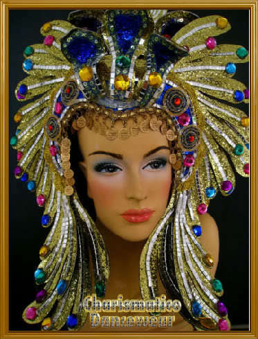 GOLD Drag SHOW GIRL CABARET EGYPT CRYSTAL HEADDRESS | eBay