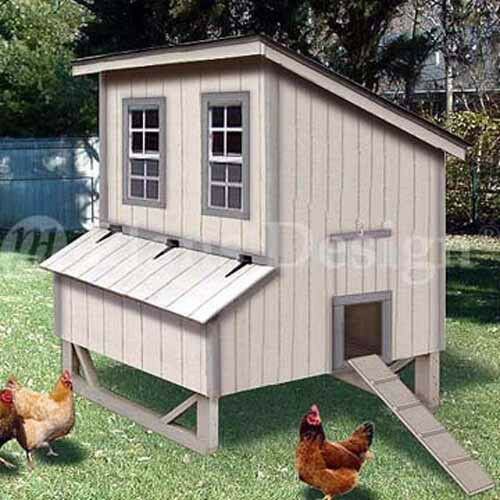 5 39 x6 39 modern style chicken house coop plans 90506m ebay for Poultry house plans for 100 chickens