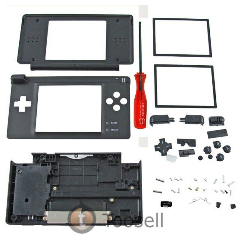 black housing case for nintendo ds lite ndsl hinge us ebay. Black Bedroom Furniture Sets. Home Design Ideas
