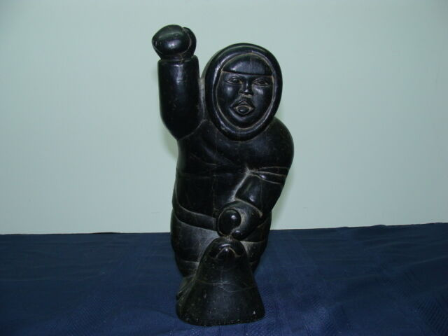 Johnny inukpuk jr inuit eskimo sculpture carving hunter