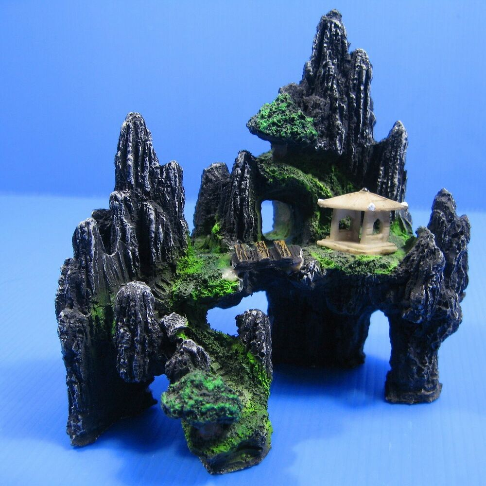 Mountain view aquarium ornament tree house cave bridge ebay for Aquarium stone decoration