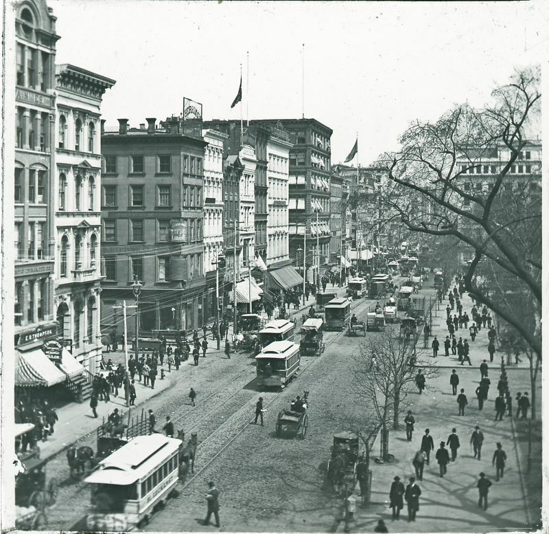 From New York City: BEST 1890 Trolley NYC New York City Lantern Slide